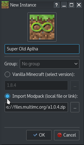 New Instance from modpack